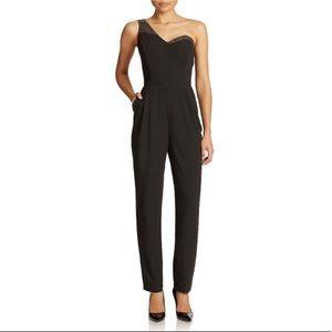Guess Pants - Guess black one-shoulder embellished jumpsuit